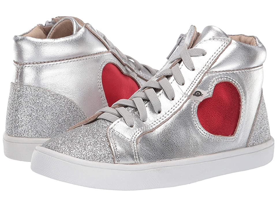 Old Soles Hearty High Top (Toddler/Little Kid) (Silver/Glam Argent/Red Foil) Girl