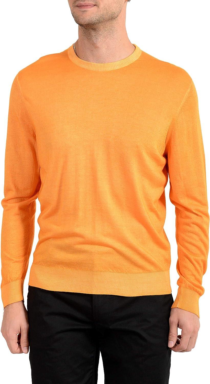 Kiton Napoli Men's Orange Crewneck Silk Cashmere Pullover Sweater US 2XL IT 56