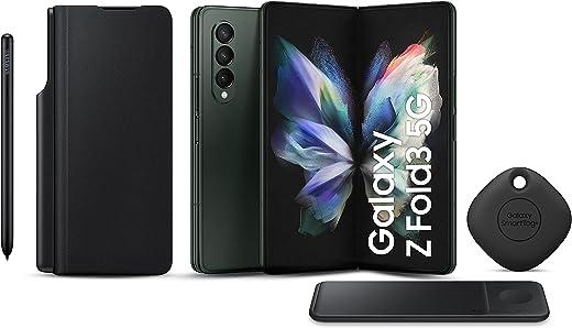 هاتف سامسونج جالاكسي زد فولد3 ثنائي الشريحة - 256 جيجابايت، 12 جيجابايت رام، 5G، أخضر (نسخة KSA ) + شاحن لاسلكي ثلاثي + غطاء قلاب لسامسونج مع S Pen + بطاقة سامسونج سمارت