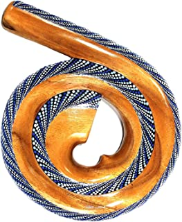 Spiral Shaped Didgeridoo SOLID MAHOGANY Wood Didgeridoo Percussion Instrument - PROFESSIONAL SOUND - JIVE BRAND (Spiral, Multi Color)