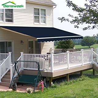 Diensweek Patio Awning Retractable Manual Commercial Grade Fully Assembled - Quality 100% 280G Ployester Window Door Sunshade - Deck Canopy Balcony P100 Series (12'x8', Navy Blue)