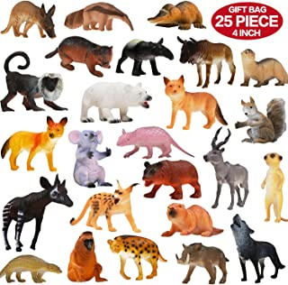 ValeforToy Animals Figure, 25 Piece Realistic Looking Animals Toys Set(4 inch), Jungle Wild Vinyl Plastic Animal Learning Toys for Boys Girls Kids Toddlers Forest Animals Toys Party Favors Playset