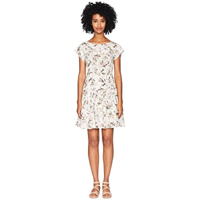 Rebecca Taylor Short Sleeve Sofia Silk Dress (Vanilla Combo) Women