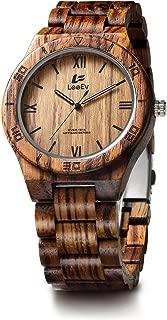 EV1918 Mens Wood Watch for Men Handcrafted Zebra Sandal Wood Vintage Wooden Watches Mens Gifts (EV1918D)