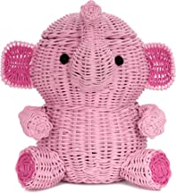 G6 COLLECTION Large Elephant Rattan Storage Basket with Lid Decorative Bin Home Decor Hand Woven Shelf Organizer Cute Hand...