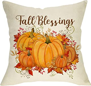 Softxpp Fall Blessings Decorative Throw Pillow Cover Pumpkin Maple Leaves, Welcome Autumn Pillow Case Decor Thanksgiving Holiday Square Cushion Cover for Home Decorations Sofa Couch 18'' x 18'' Cotton