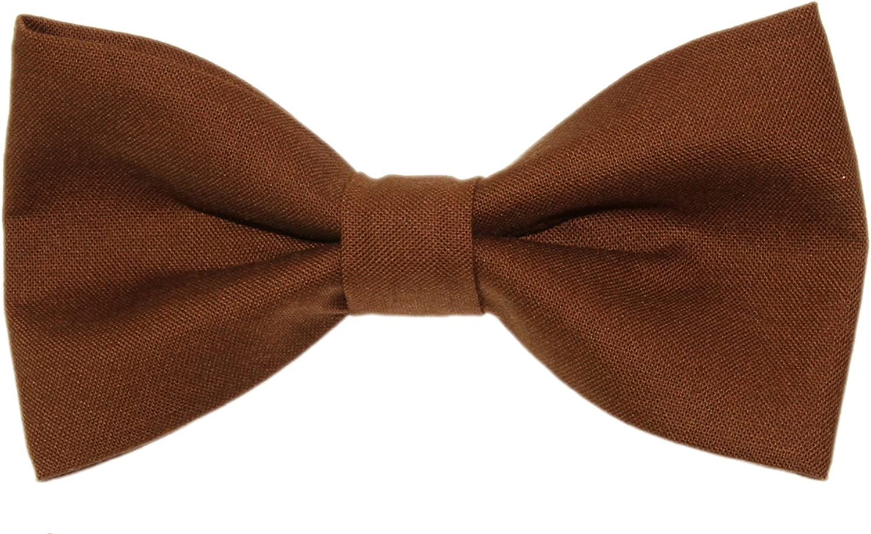 Men's Chestnut Brown Clip On Cotton Bow Tie