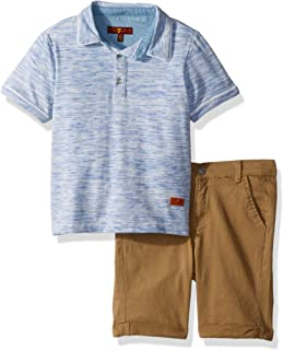 7 For All Mankind Boys' Toddler Space Dye Henley T-Shirt and Twill Short Set