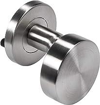 Moderne huisdeurknop vast deurgreep roestvrij staal deurbeslag mat vast op ronde rozet | LDK 212 | Knop Ø 53 mm | Deurknop...