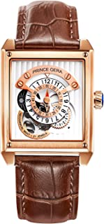 PRINCE GERA Men's Watch Genuine Leather Band Square Wristwatch
