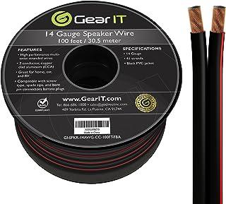 GearIT Pro Series - Cable de altavoz de calibre 14 AWG (100 pies/30,48 metros), gran uso para altavoces de cine en casa y ...