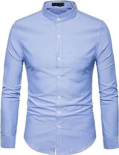 قميص رجالي ماركة WHATLEES قميص أكسفورد بأكمام طويلة كاجوال بأزرار سفلية مع جيب