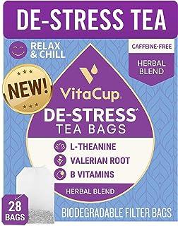 VitaCup DeStress Herbal Tea Bags 28 Ct   Relax & Chill   Chamomile, L-Theanine, Valerian Root & Vitamins B1, B5, B6, B9, B...