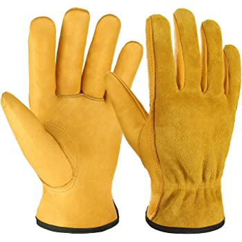 OZERO Leather Work Gloves Flex Grip Tough Cowhide Gardening Glove for Wood Cutting/Construction/Driving/Garden for Men and Women 1 Pair (Gold,Large)