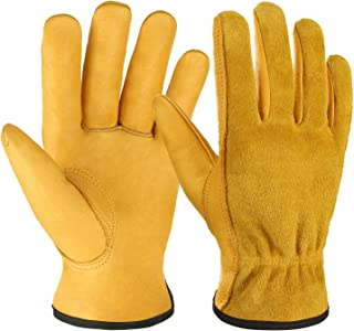 OZERO Leather Work Gloves, Genuine Cowhide Construction Glove with Elastic Wrist for Men..
