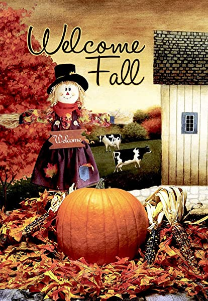 Morigins Welcome Fall Scarecrow Harvest Decorative House Flag Double Sided 28x40 Autumn Pumpkin Garden Yard Decorations