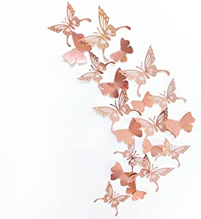 pinkblume Rose Gold Butterfly 3D Wall Decals Stickers DIY Removable Decorative Metallic Paper Swallowtail Butterflies for ...