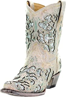 A3557 White Leather Glitter Inlay Ankle Boot with Crystals