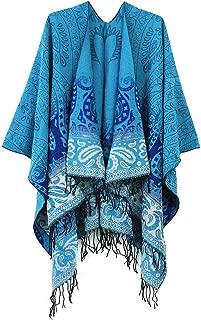 Women's Fashionable Retro Style Vintage Pattern Tassel Poncho Shawl Cape