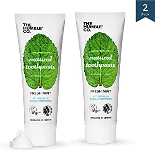 Natural Fluoride Toothpaste (2pk) - Eco-Friendly, Vegan for your Everyday Oral Care - Dentist Approved - Prevents Bad Breath, Caries, Plaque (Fresh Mint)