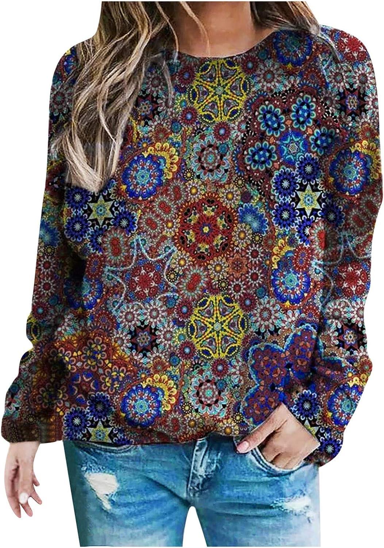 Wugeshangmao Crewneck Hoodies for Women Basic Thermal Long Sleeve Fashion Print Pullover Sweatshirt Loose Tunic Tops