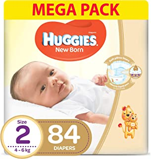 HUGGIES New Born Diapers, Size 2, Carry Pack, 4-6 kg, 4 X 21 Diapers