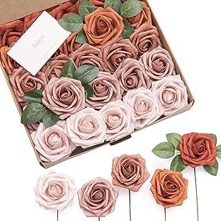 Ling's moment Artificial Flowers Burnt Orange Ombre Colors Foam Rose 5 Tones for DIY Wedding Bouquets Centerpieces Arrangments Decorations