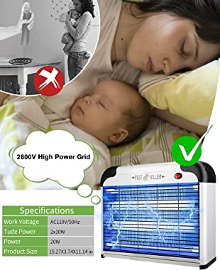 Burxoe Electric Bug Zapper Indoor Mosquito Killer Insect Fly Trap with 20W UV Lamps for Residential & Commercial Free Sta