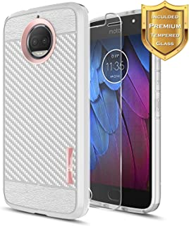 Moto G5S Plus Case, Moto G5S+ Case with [Tempered Glass Screen Protector], NageBee [Frost Clear] [Carbon Fiber] Premium Slim Protective Rubber Case for Motorola G5S+ / G5S Plus XT1806 (Rose Gold)