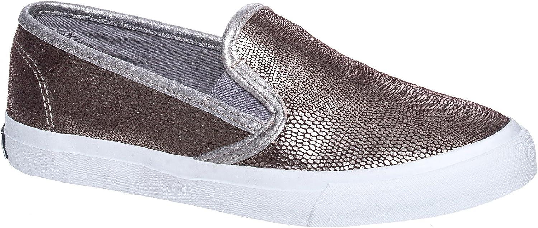 Sperry Women's Seaside Grey Silver Snake Casual Slip On shoes
