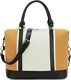 BLUBOON Women Weekender Bag Overnight Travel Carry-on Tote Duffle Bag for Rolling Luggage with Shoulder Strap (Sand-White)
