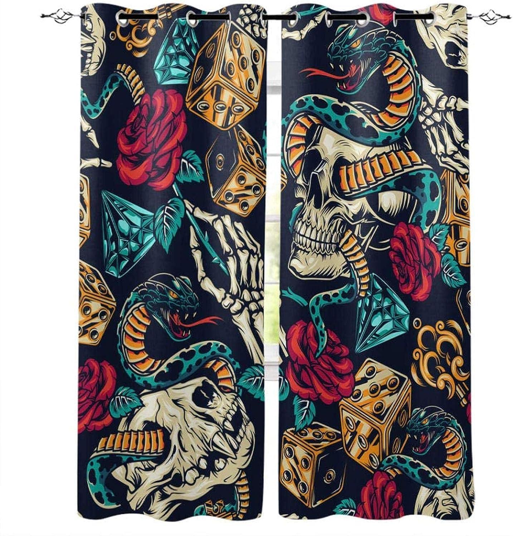 XKSJWY Kitchen Curtains Horror Skull Art Eyelet Inch Purchase 3D Max 70% OFF 104X95 B