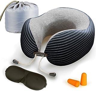 Lyn's Almohada Cuello, Almohada Viaje Espuma Memoria, Funda de algodón Puro Transpirable, Kit de Viaje de avión con máscara para los Ojos, Tapones para los oídos y Bolsa de Almacenamiento (Azul)
