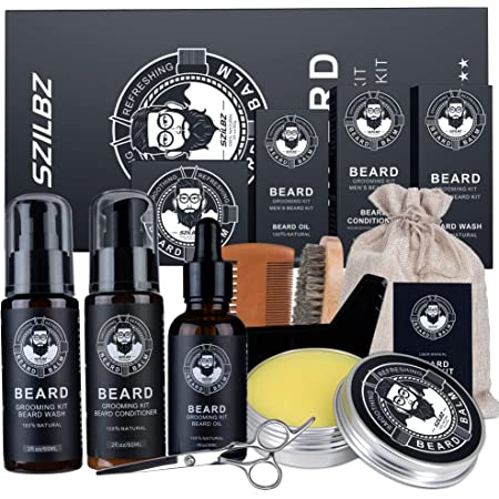 Beard Growth Kit For Men, Unique Beard Care with 100% Natural Beard Oil, Beard Balm, Beard Shampoo Wash Beard Brush& Wood Beard Comb, Beard Scissors, Best Beard Gift For Dad Husband Boyfriend