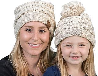Mother(NO POM)/Daughter(POM) Winter Hat Bundle - Beige