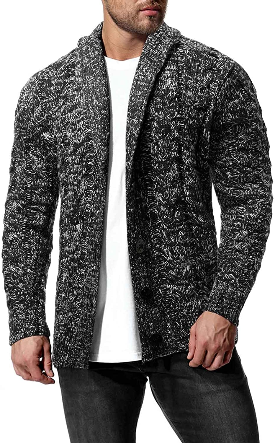 ZSBAYU Men's Fashion Cable-Knit Cardigan C Collar Shawl Max 63% OFF Sweaters Japan's largest assortment
