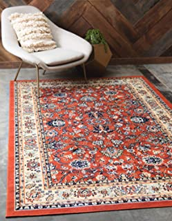 Unique Loom Kashan Collection Traditional Floral Overall Pattern with Border Terracotta Area Rug (4' 0 x 6' 0)