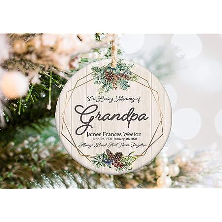 IN LOVING MEMORY Personalised Engraved Memorial Christmas Decoration /& Gift Bag