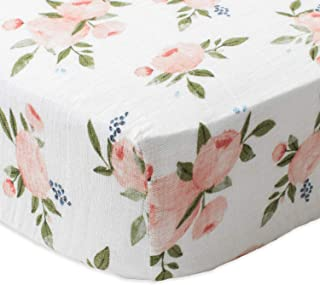 Little Unicorn Cotton Muslin Crib Sheet - Watercolor Roses