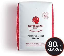 Coffee Bean Direct Indian Monsooned Malabar, Whole Bean Coffee, 5-Pound Bag