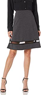 Star Vixen womens Fit n Flare Stretch Ponte Knit Mesh Inset Skirt Skirt