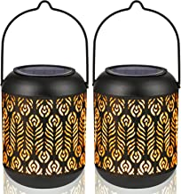 LeiDrail Solar Lantern Lights Outdoor Tabletop for Halloween Part Table Pathway Garden Yard Sun Powered LED Hanging Lighti...