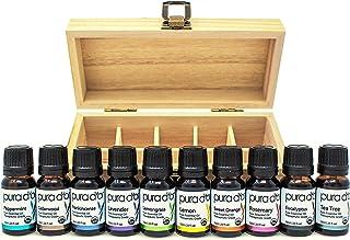 PURA D'OR Essential Oils Wood Box 10mL 10-Set 100% Pure USDA Organic Therapeutic Grade (Tea Tree, Lemon, Lavender, Sweet Orange, Rosemary, Lemongrass, Frankincense, Peppermint, Eucalyptus, Cedarwood)