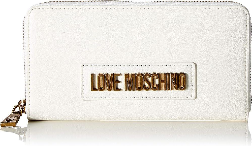 Love moschino, portafogli, porta carte di cretido da donna, in pelle sintetica, bianco JC5627PP0A1
