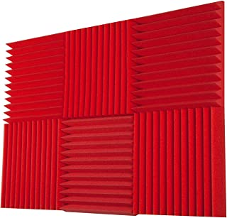 "Foamily 6 Pack - All Red Acoustic Panels Studio Foam Wedges 2"" X 12"" X 12"""