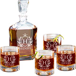 Personalized Custom Engraved Whiskey Decanter Set - Decanter and 4 Glasses Gifts Set - Custom Engraved Monogrammed with Shield Desgin