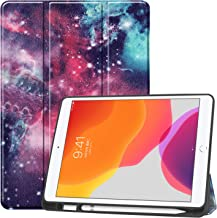 """New iPad 10.2 Case with Pencil Holder, Premium Folio Slim Fit Smart Shell, Trifold Stand Shockproof Soft TPU Back Cover, Auto Sleep/Wake Function for iPad 7th Generation 10.2"""" 2019 (3-Nebula)"""