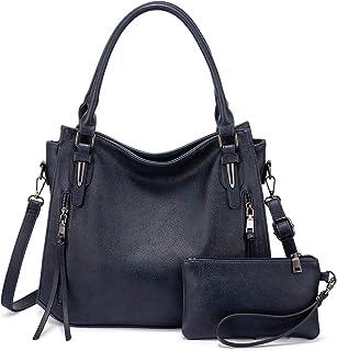 Realer Damen Handtaschen Groß Shopper Lederhandtasche Schultertasche Umhängetasche Geldbörse Hobo Damen Taschen Set 2pcs Blau