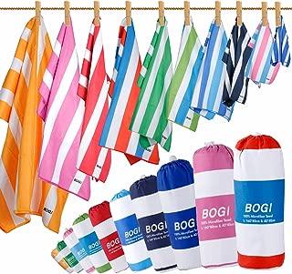 BOGI Microfiber Sports Travel Beach Towel-L 63''x31.5''XL 79''x35.5'' with Hand/Face Towel for Travel Bath Beach Swim Camping Gym Yoga,Dry Fast Absorbent Soft Lightweight-Pouch+Carabiner