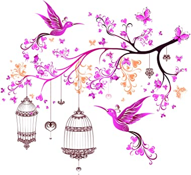 Amazon Brand - Solimo Wall Sticker for Bedroom (Floral Pink Butterflies lamp ), Ideal Size on Wall: 100 x 95 cm